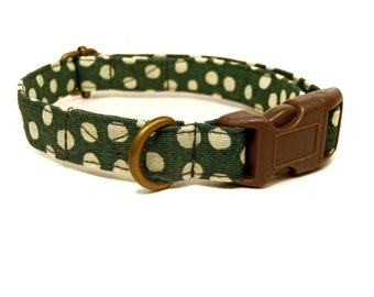 The Olive - Organic Cotton CAT Collar Breakaway Safety - All Antique Brass Hardware