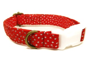 Snowfall - Red Silver Dots Organic Cotton CAT Collar Breakaway Safety - All Antique Brass Hardware