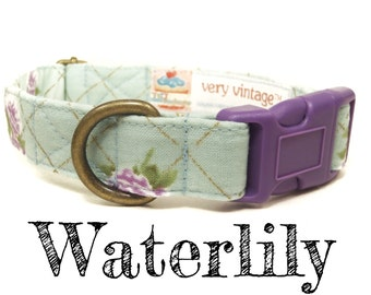 "Mint Green Purple Floral Vintage Dog Collar - Girl Dog Collar - Shabby Chic Dog Collar - Antique Brass Hardware - ""Waterlily"""
