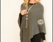 Monogrammed Poncho with Fringe - 4 colors - Personalized Shawls, Monogrammed Shawl, Womens Ponchos, Gray, Cream, Ivory, Red, Black