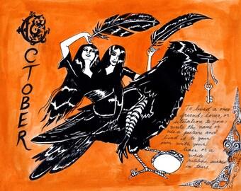 COLOR Dame Darcy, Meat Cake , original art, hand drawn, comix, comics, manga, print, zine, 2017 witchcraft calendar, page art, October