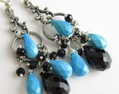 MOTHERS SALE Sleeping Beauty and the Darkness Earrings - Black Spinel with Sleeping Beauty Turquoise on Sterling Silver