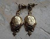 FREE SHIPPING Vintage Locket Earrings Pierced Goldtone Floral Design