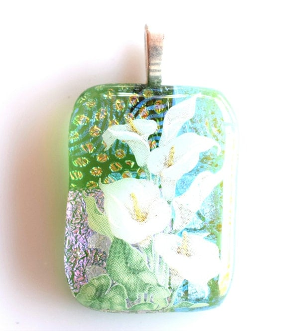Calla  Lilies Pendant - Dichroic Glass - Melted Fused Glass - Blue Green Magenta Salmon - Perm anent Decal