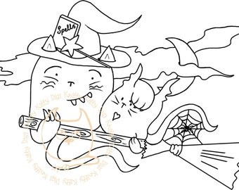 Digi Stamp Instant Download. Witchy Whiskers - Knitty Kitty Digis No. 41