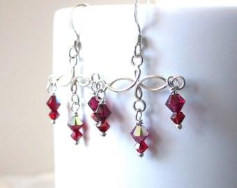 Red Crystal Earrings, Swarovski Crystal Dangles, Swarovski Ruby Red Earrings, Sterling Earrings, Red Bohemian Earrings, Boho Dangles, Almina