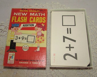 Vintage Math Flash Cards Addition, Self-Teaching Milton Bradley, 1965, Complete Set Black & White Cards, scrapbooking