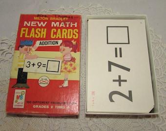 Vintage Math Flash Cards Addition, Self-Teaching Milton Bradley, 1965, Complete Set Black & White Cards