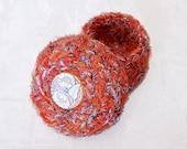 Moonlit Sunflower Basket - Glass Embellished Jewelry Holder Handmade with Orange Silk Sari Threads - Unique Home Decor Keepsake Gift STB046
