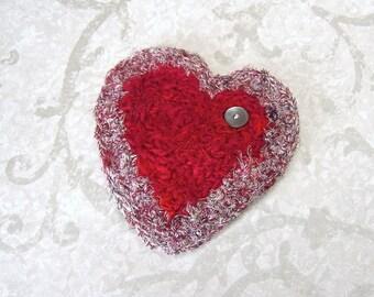 Romantic Red Silk Heart Lingerie Drawer Sachet - Organic French Lavender Scented Silk Tapestry Valentine's Keepsake Gift For Her STLH02
