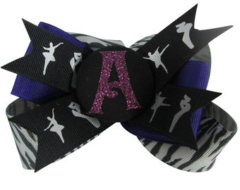 Glitter Dance Bow with Personalized Initial - Ballet Hair Bow for Girls, Ponytail Clip, Recital Ribbon - choose initial and ribbon colors