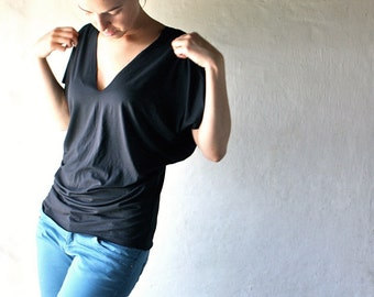 Black Top, Tunic top, Yoga clothes, Dolman top, Maternity clothes, Women top, V neck top, Casual top, Batwing top, Blouse, Plus size tshirt