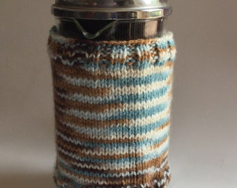 Blue and Brown French press cozy cafetiere cosy hand knitted