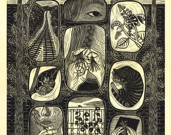 "11 x 14 Linocut Print ""Emergence"" // city / nature / train tracks / vignettes / cicada / cat / block print / pokeberry / eye / relief print"