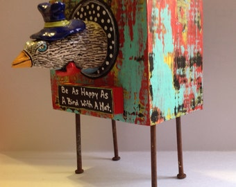 Be As Happy As A Bird! Ceramic and Wood Sculpture