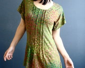 One Sunday Morning - iheartfink Handmade Hand Printed Womens Unique Floral Moss Green Art Print Short Sleeves Jersey Tunic Top