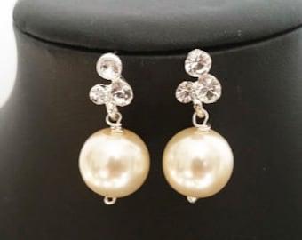 Ivory pearl earrings bridal, Ivory pearl wedding earrings, Vintage style dangle earrings, Pearl rhinestone earrings dangle, Wedding jewelry