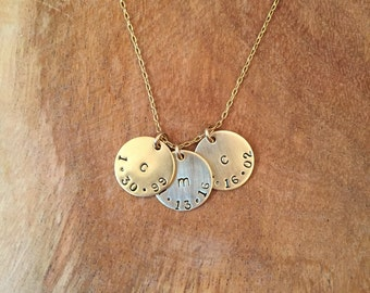 Personalized 3 disk necklace - Gold filled