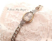 Tiny Frozen Charlotte Bracelet Watch Diamond Doll One-of-a-Kind Two Tone Bracelet Lorelie Kay Original