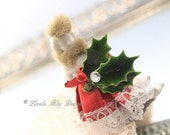 Miss Christmas Frozen Charlotte Ornament Candle Clip Feather Tree Decoration One-of-a-Kind Mixed Media