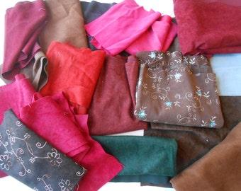 Suedecloth Scrap Fabric, Fabric Destash, Mixed Lot of Suedecloth Fabric Scraps