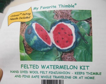Wool Felt Kit, Felted Watermelon Kit, Wool Pin Cushion Kit
