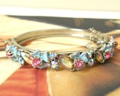 Vintage Florenza Swarovski AB Crystal & Blue Enamel Flower Hinged Bracelet - Light Blue, Pink, Rhinestones, Wedding, Bride, Something Blue