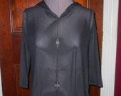 SALE Vintage Ladies Black See Through Sheer Hooded Top S/M