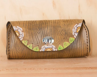 Small Leather Clutch - Handmade in the Emerson Owl Pattern with Owl and Woodgrain - Leather Purse, Clutch, Wristlet, or Waist Bag