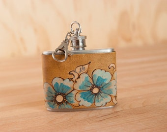 2oz Mini Flask Key chain - Belle pattern with wild roses in turquoise, silver and antique brown