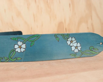 Leather Ukulele Strap - Handmade leather in the Willow Pattern - Flower Ukulele strap in blue , white and green
