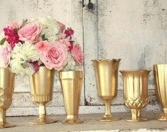 Gold wedding decor,  6 Gold dipped vintage vases, table decorations, gold glitter vase, stemmed pedestal vase, tall,  wedding centerpiece
