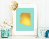 Arizona State Art Print - Gold Foil Print - Arizona Map Poster- Arizona Wall Art - Gold Arizona Map - 65 Background Colors