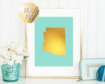 Arizona State Art Print - Gold Foil Print - Arizona Map Poster- Arizona Wall Art - Gold Arizona Map - 65 Background Colors
