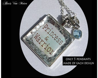 Princess and Warrior, glitter pendants, glitter, sparkle, bling, original art pendants, gift boxed, tiara, glitter fairy,strong women