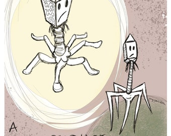 A Bacteriophage Momentarily Experiences Guilt Art Print 11x17 Poster Art by Surly Amy Davis Roth