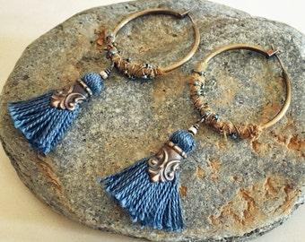 Dusted Blue Slate Wanderlust Hoop Earrings