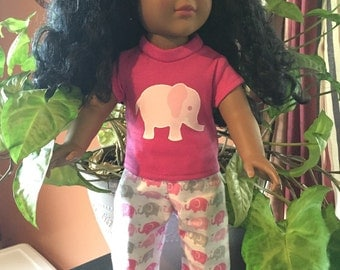 After Christmas sale 18 inch doll Fun PINK ELEPHANT pajamas for your favorite 18 inch doll