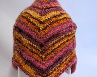 Baby/toddler earflap hat hand knit in washable wool, OOAK.