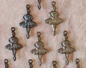 SALE: Vintaj Natural Brass Double Sided Ballerina Charms 14x25mm ((DP0007) - Select Quantity