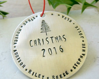 LARGE Personalized Silver Christmas Ornament, Large Family Ornament, Names ornament, Christmas 2017 ornament,  57 character max