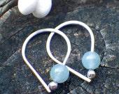 Aquamarine sterling silver open hoop earrings