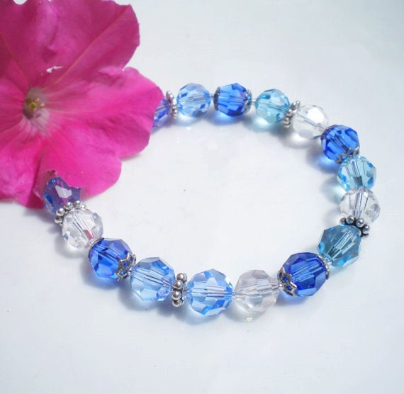Sapphire Swarovski Crystal Bracelet Beaded Lt Sapphire Aquamarine Clear Crystals Silver Beadcaps