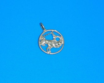 Sterling Silver Capricorn Goat Round Pendant