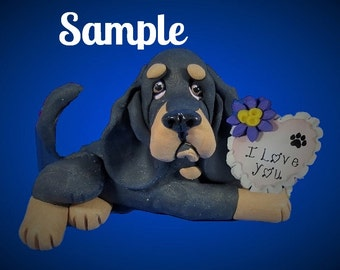 Black and Tan Coonhound / Bloodhound Dog  I LOVE YOU heart sculpture Polymer Clay art by Sallys Bits of Clay