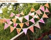 STOREWIDE 15% OFF ONE Bunting Banner in Bright Orange and Pink. Pennant Flag Garland, Designer's Choice, Bridal Shower, Wedding Decoration,