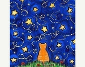 ON SALE Orange Tabby Cat Looking at Starry Night Sky , All Is Well, print by Shelagh Duffett