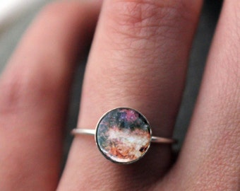 Omega Nebula Sterling Silver Stacking Ring - Galaxy Space Jewelry Customized - Cosmos Outer Space Nebulas - Stars, Colorful Cosmic Jewellery