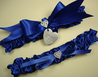 Royal Blue Wedding Garter Set, Personalized Satin Garters with Engraving and Rhinestone Hearts