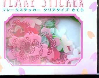 Traditional Japanese Stickers - Cherry Blossoms - Plum Blossoms -  Sticker Flakes  -  Flower Stickers (S41)